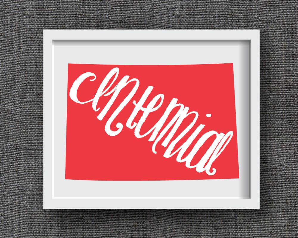 Colorado Art Print -- Hand Lettered Colorado Map Art  -- Centennial State Colorado Typography Print, Colorado Gift, Colorado State Artwork by FrannyandFranky on Etsy https://www.etsy.com/listing/226506623/colorado-art-print-hand-lettered