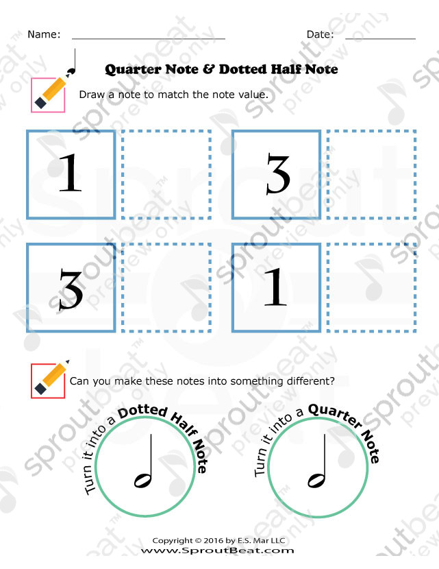 Quarter Note Dotted Half Note Music Worksheets Notes Dots
