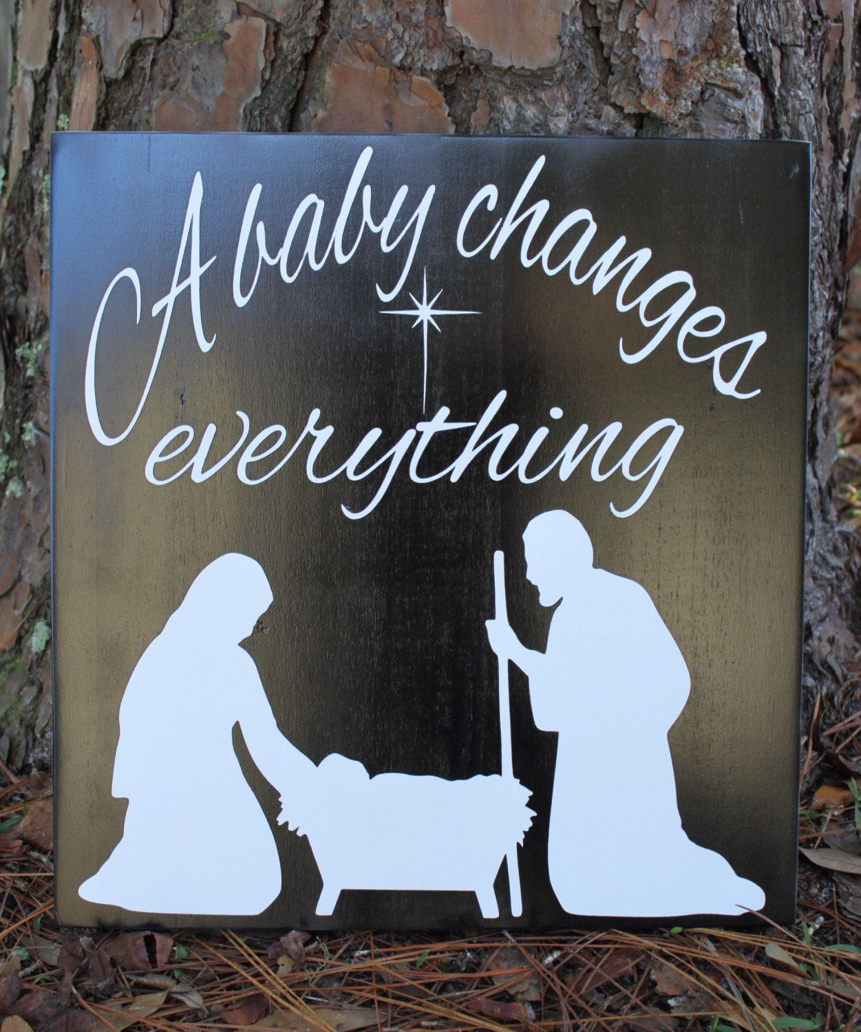Christmas Wood Sign - A Baby Changes Everything - Nativity Wood Sign, Baby Jesus Sign, Christmas Nativity Sign, Black/White Christmas Sign by RusticRedbird on Etsy https://www.etsy.com/listing/255454700/christmas-wood-sign-a-baby-changes