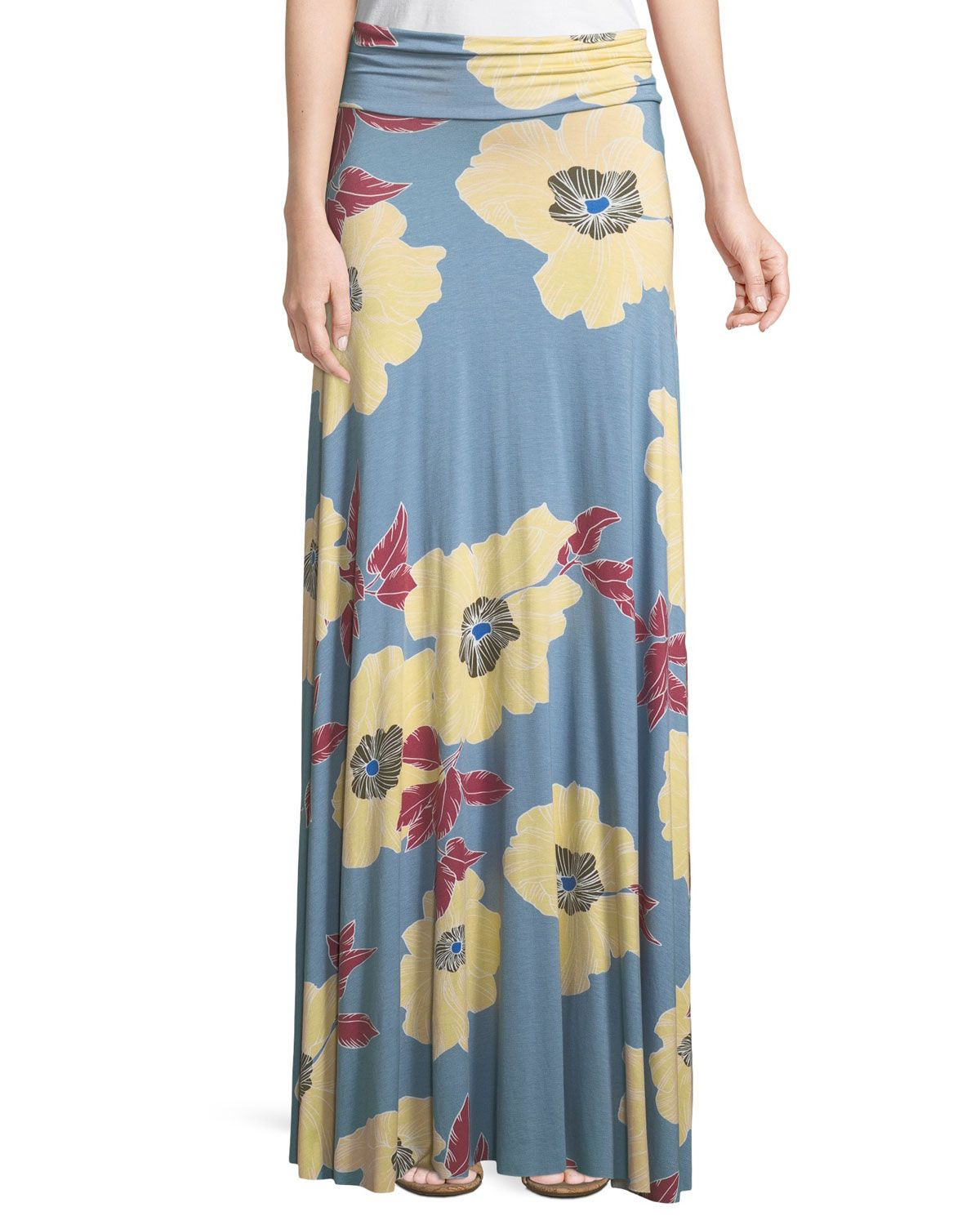 Floral Print Jersey Maxi Skirt Plus Size In Bloom Spodnica