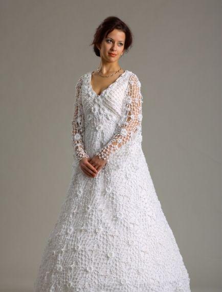 Вязаные свадебное платье для невесты. Вязка крючком фото | Moda en ...