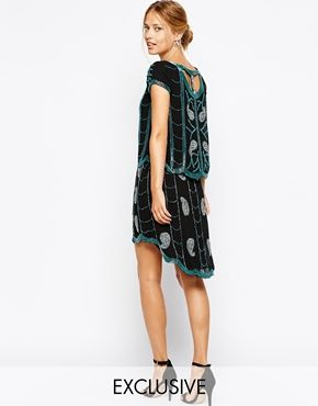 Frock and Frill Embellished Shift Dress with Cage Back