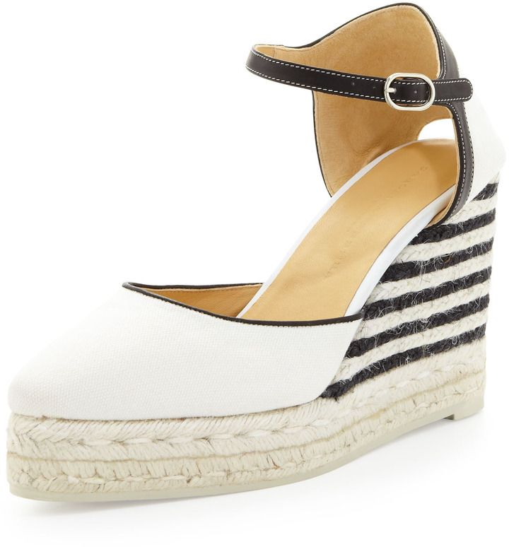 7afcf53a5 Carolina Herrera Canvas Striped-Wedge Espadrille, Ivory/Black on shopstyle .com