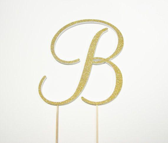 6 Monogram wedding cake topper gold cake topper by StudioBloomIowa, $79.00