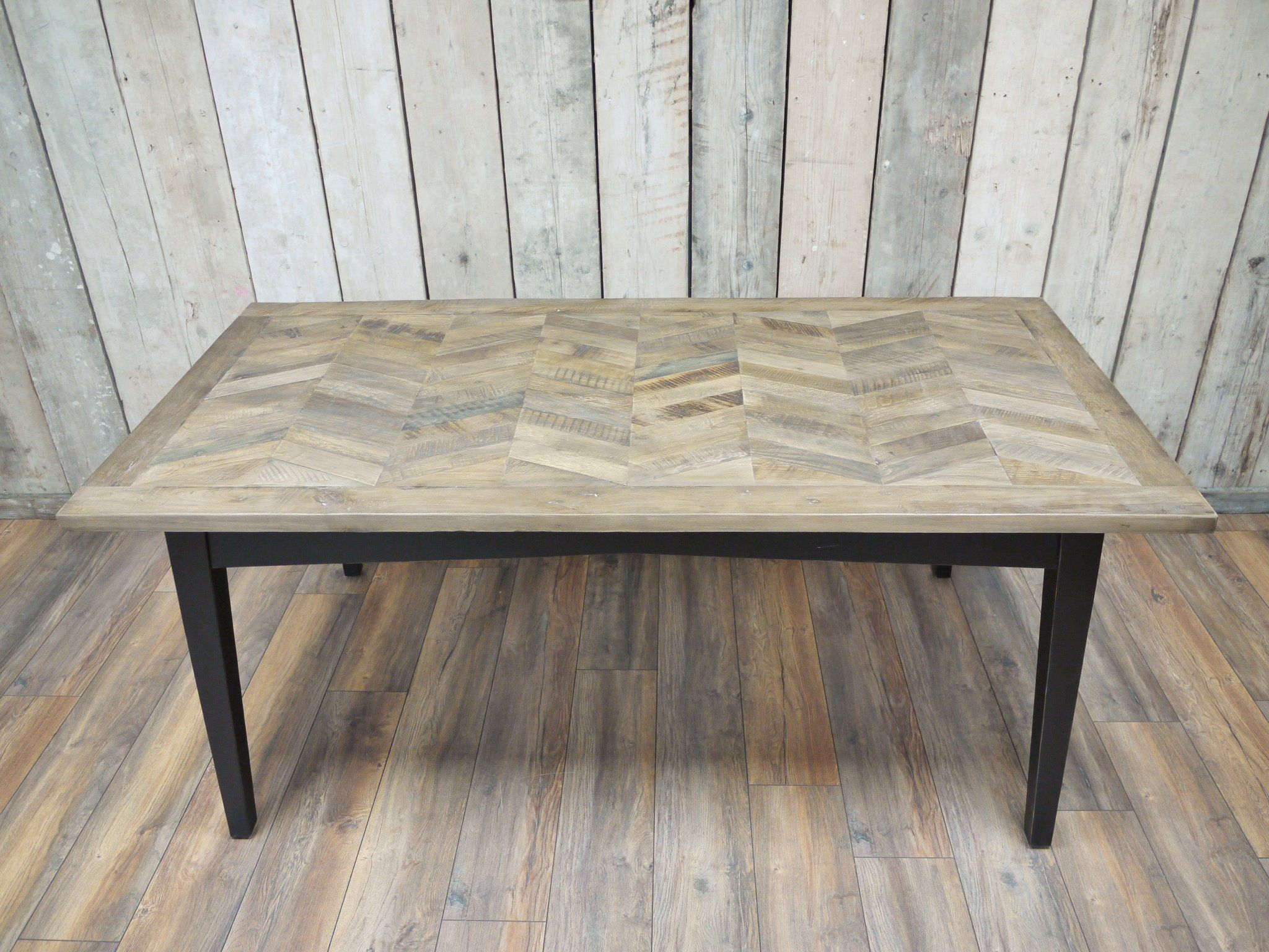 Herringbone Recycled Birch Wood Dining Table 180 X 90