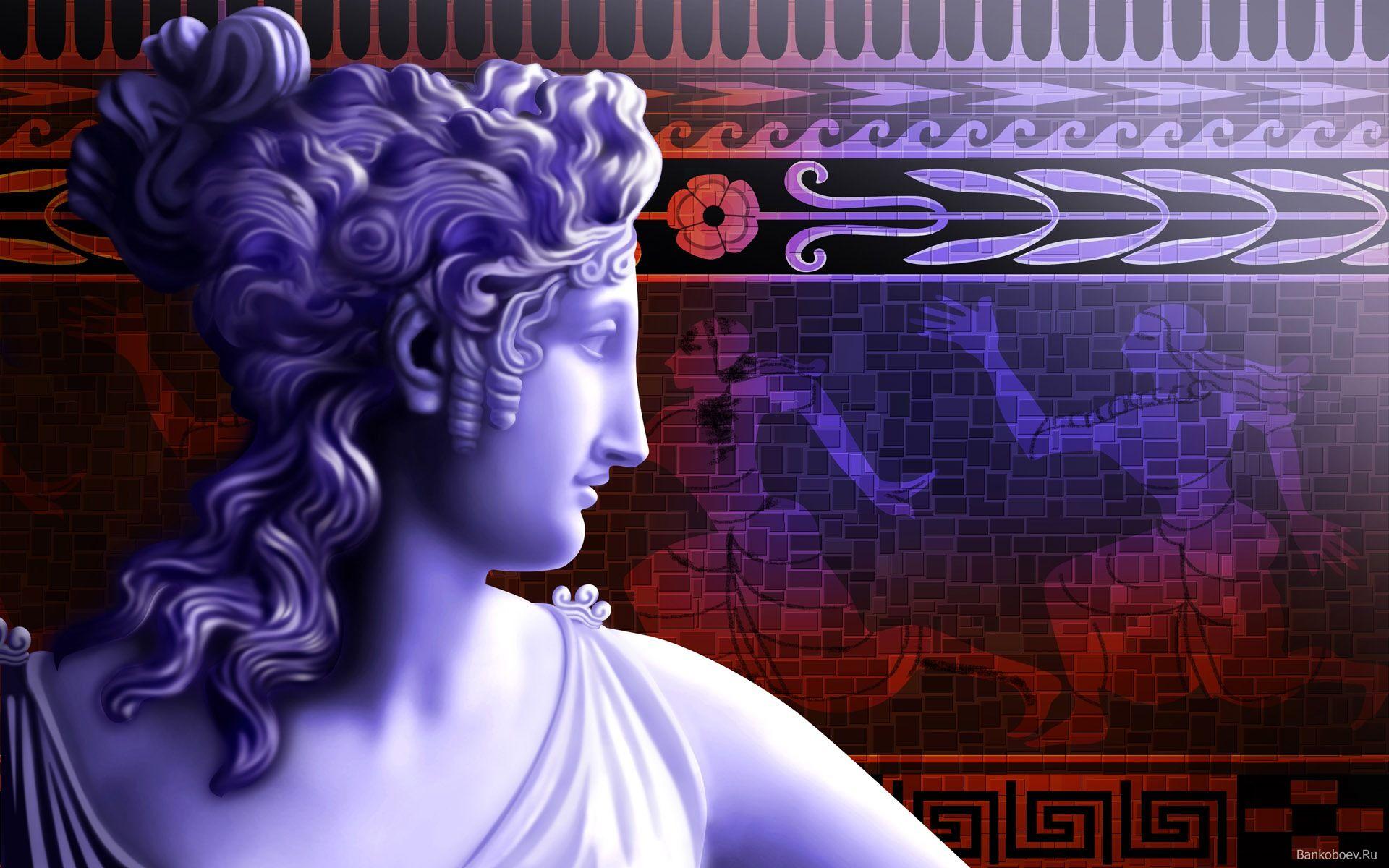 Банк Обоев: обои Статуя Афродиты на фоне фресок, фото ...