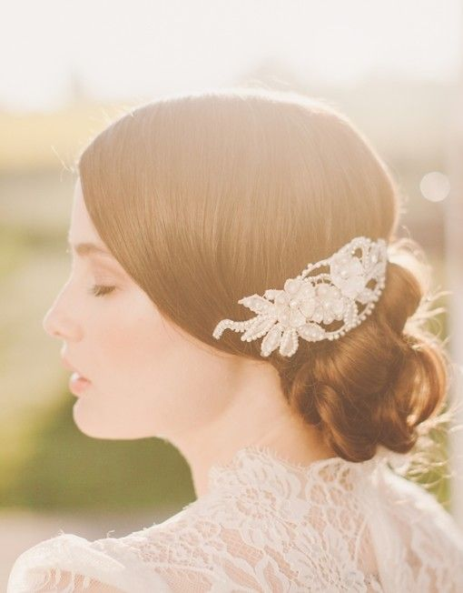 """Beautiful """"Roberta"""" hair comb with French lace and pearlized sequins, Preciosa crystals and beads. // Jannie Baltzer Collection"""