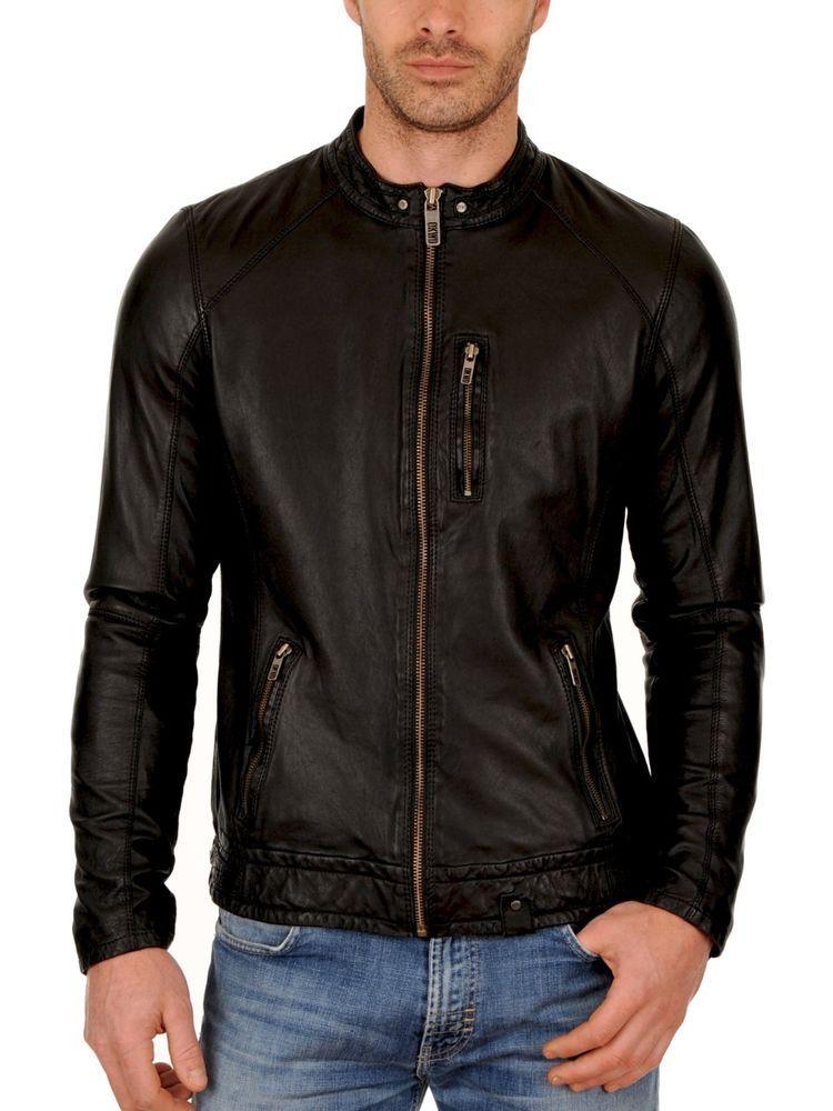 c7d391532 Men's Genuine Cow Leather Jacket Slim fit Motorcycle jacket Cow hide ...
