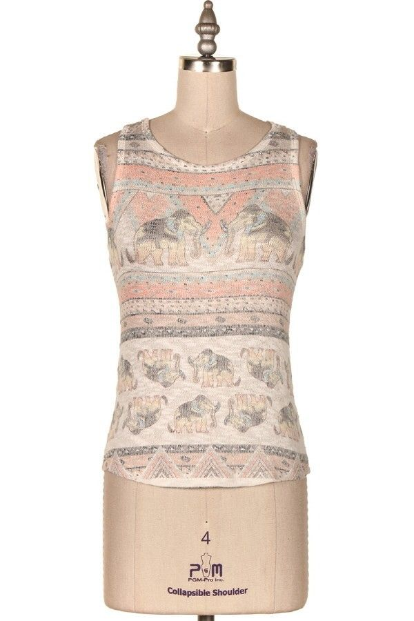 ELEPHANTS PRINT KNIT TANK.   #9O-ICT10771