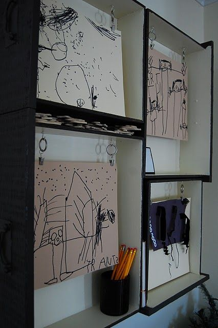 Art display using drawers.  Love the look of this