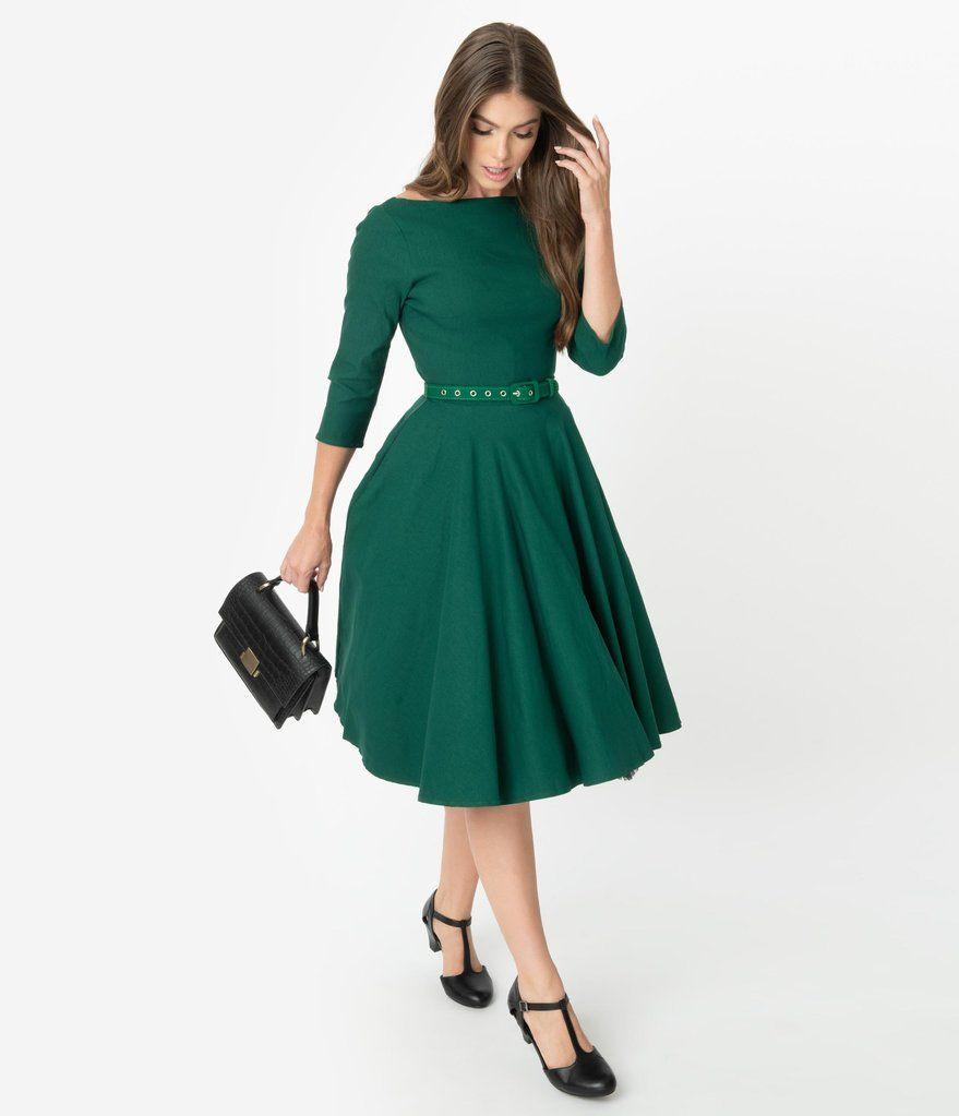 Unique Vintage 1950s Style Emerald Green Stretch Sleeved Devon Swing Dress Short Green Dress Dresses Swing Dress [ 1023 x 879 Pixel ]