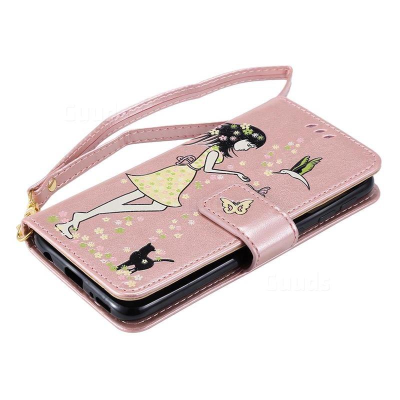 2019 的 Luminous Flower Girl Cat Leather Wallet Case for Samsung