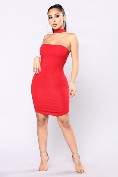 Do It On The Daily Choker Dress - Red