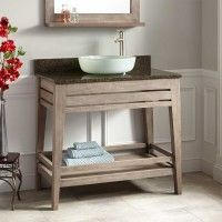 "36"" Aurelia Teak Vessel Sink Vanity - Gray Wash"