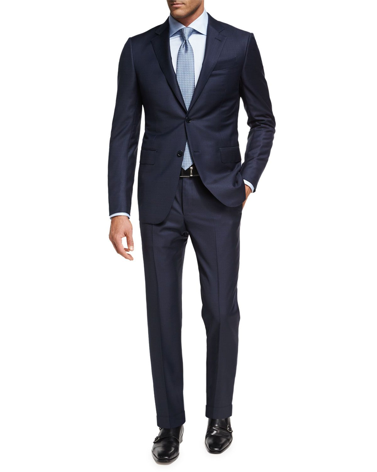 fa693616 Trofeo® Wool Textured Two-Piece Suit Navy in 2019   fashion   Mens ...