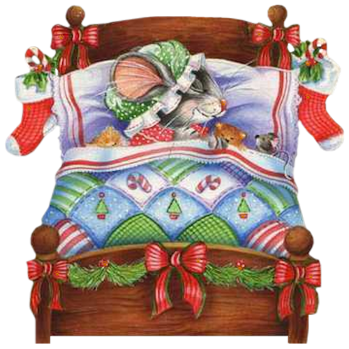 CHRISTMAS MICE SLEEPING IN BED CLIP ART | Graphic design ...