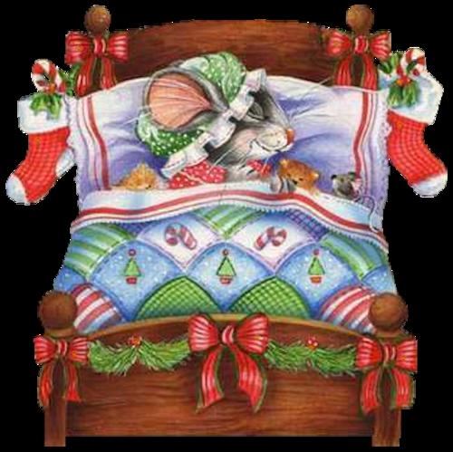 christmas mice sleeping in bed