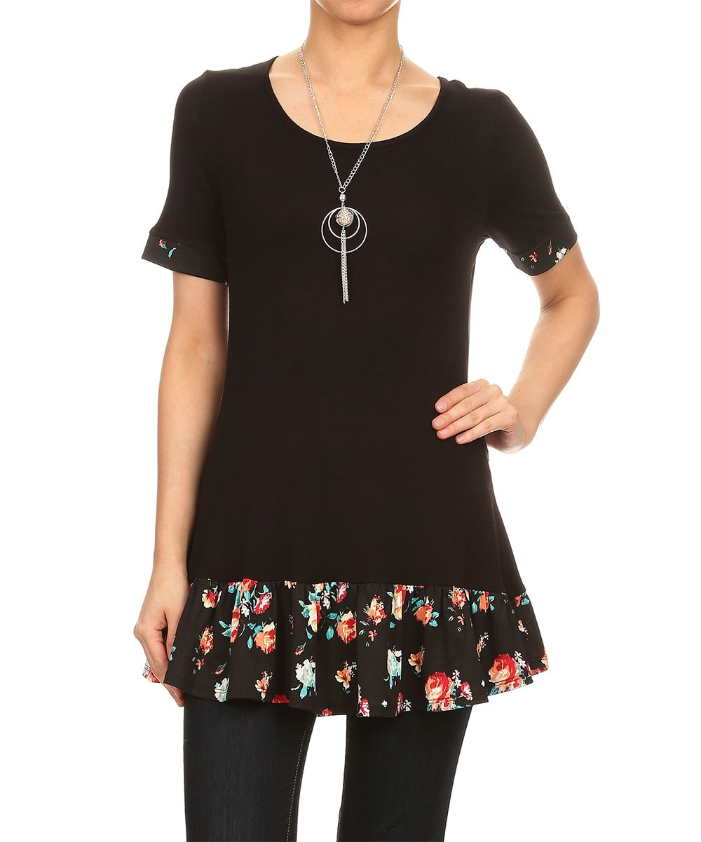 Black floraltrim ruffle tunic products