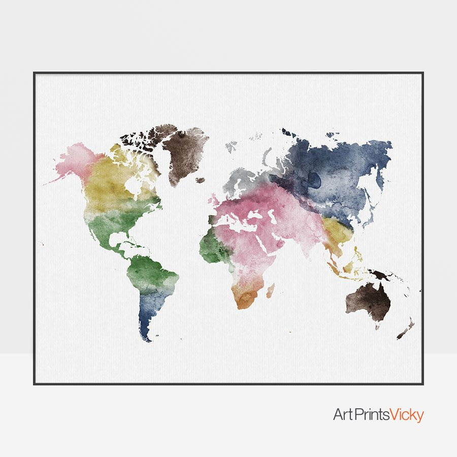 World Map Colorful Watercolor Poster World Map Wall Art Map