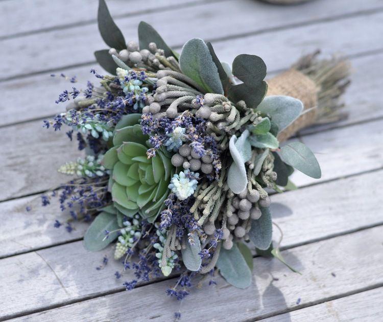 Succulent Dried Lavender Bouquet - 1.jpg | Wedding Ideas ...