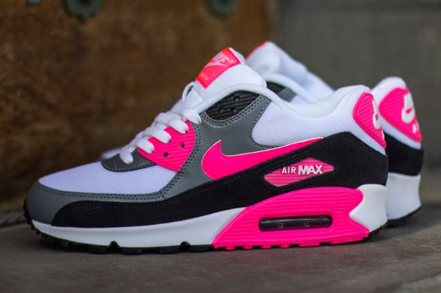 3df30620f4c40 Nike-Air-Max-90-Cool-Grey-Black-Hyper-Pink