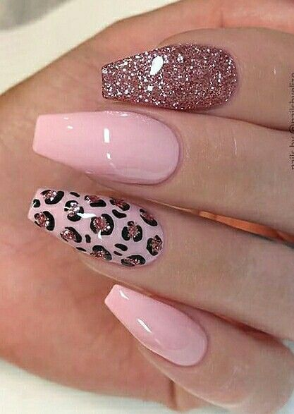 Light Pink Coffin Nails With Gliter And Leopard Nails #nageldesigns pink – Coffin nails designs