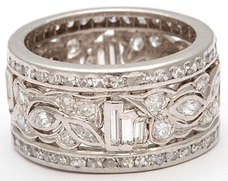 1950s wide diamond platinum band band and diamonds