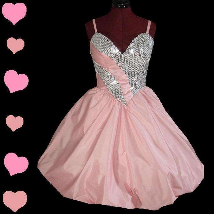 80s prom dress | Vintage 80s PINK BUBBLE Sequin Prom PARTY Dress ...