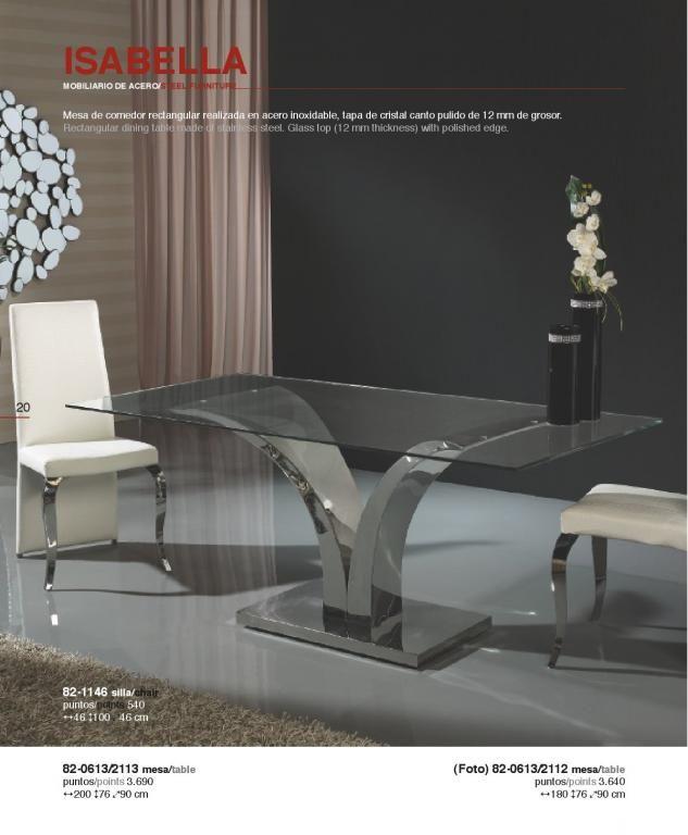 Isabella mesa de comedor acero inoxidable/Cristal 180cm Schuller