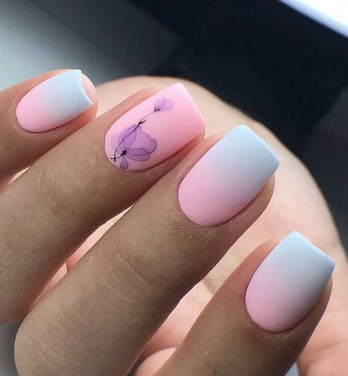 Fall Nail Designs Pink Blue Ombre Purple Watercolor Flowers In 2020 Cute Nail Art Designs Square Nail Designs Short Acrylic Nails