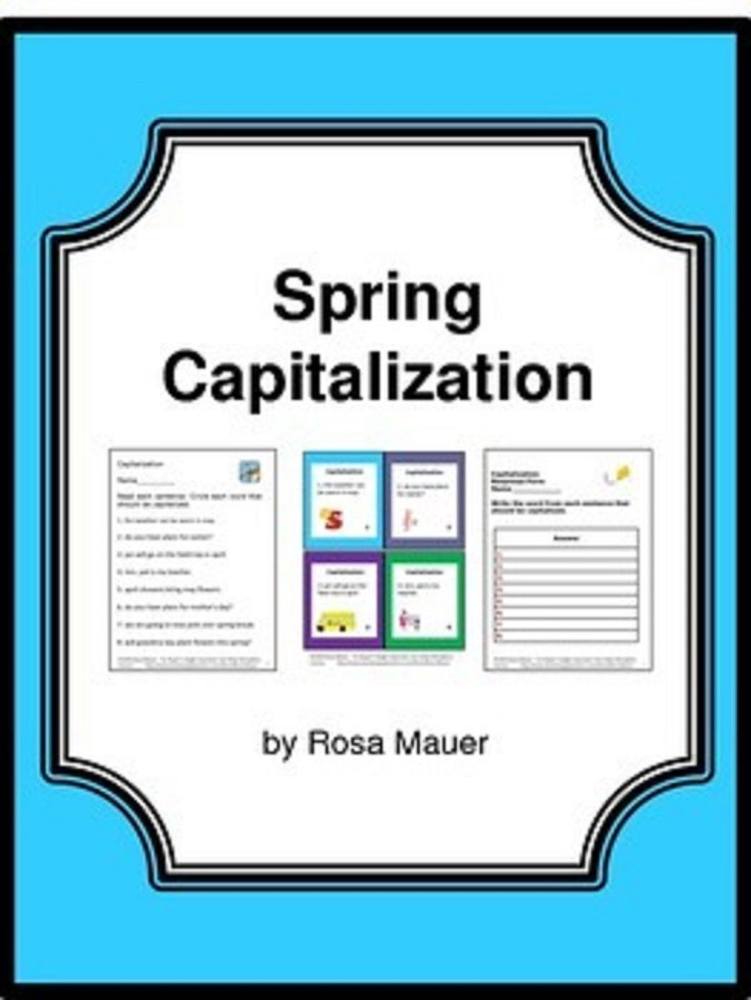 Spring Capitalization Task Cards And Worksheet Language
