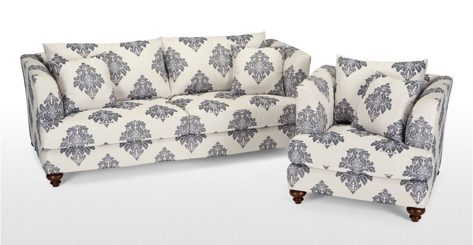 Elliott 3 Seater Sofa In Fleur De Lys Blue | Made.com