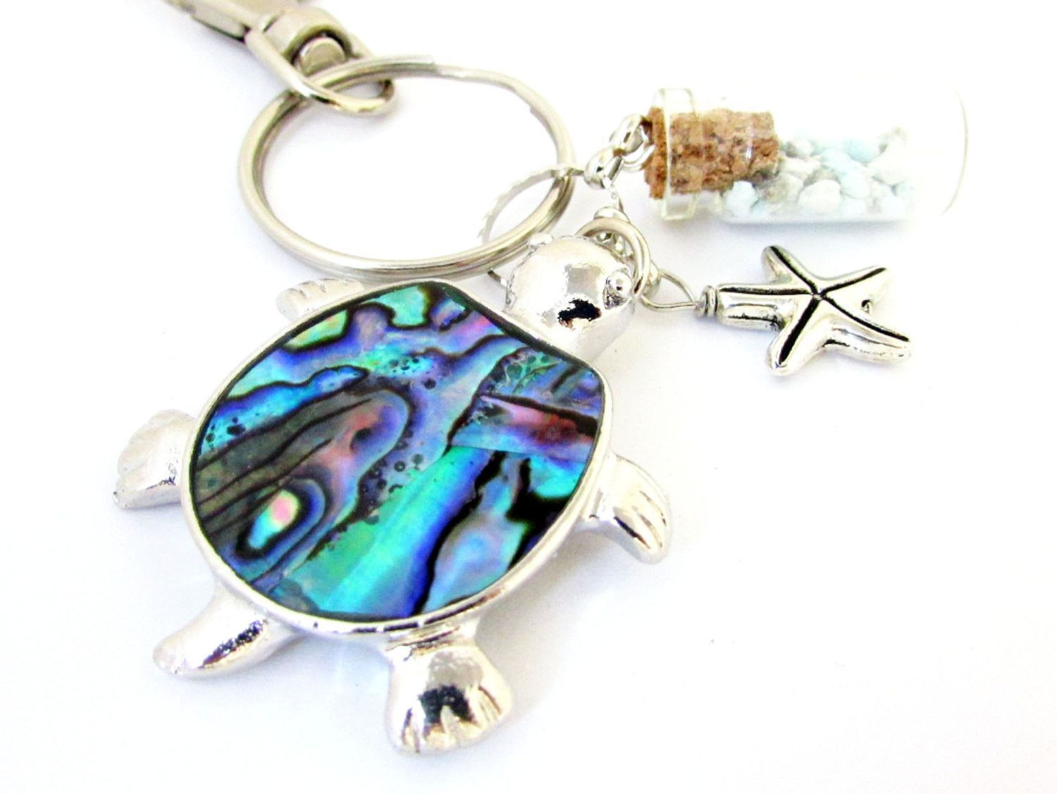 Sea Turtle Keychain, Turquoise Stones Keychain, Abalone Shell Turtle Keychain, Car Accessories, Beach Inspired Keyring