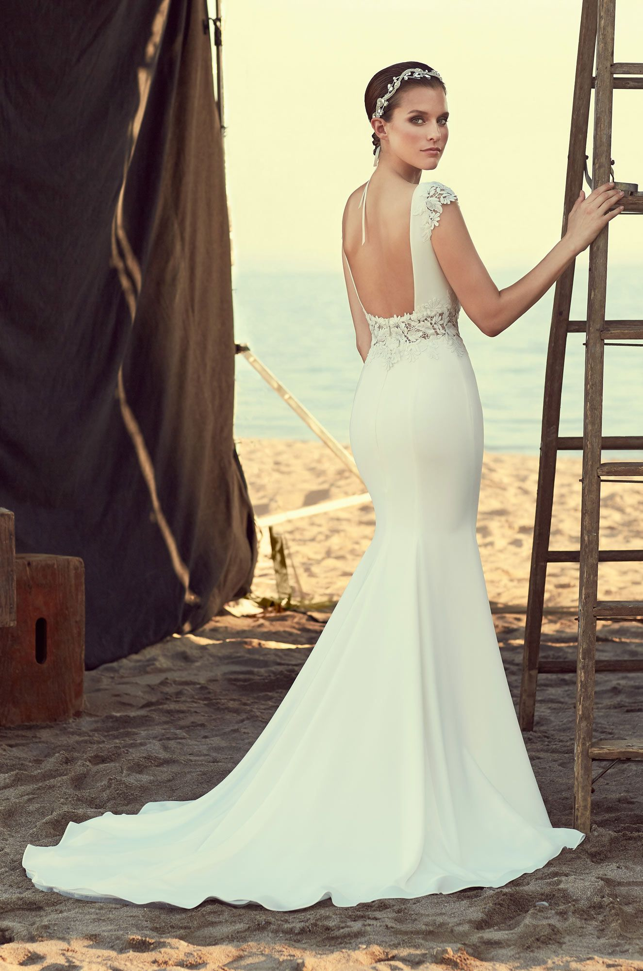 Style 2181 Guipure Lace And Crêpe Wedding Dress V Neckline Bodice With Over Sheer Cap Sleeves Midriff