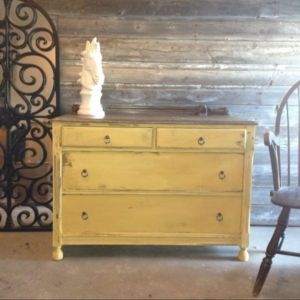 Farmhouse antique mustard yellow dresser/buffet