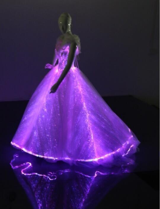 Led Fiber Optic Light Up Elegant Princess Cinderella Dress Bridal
