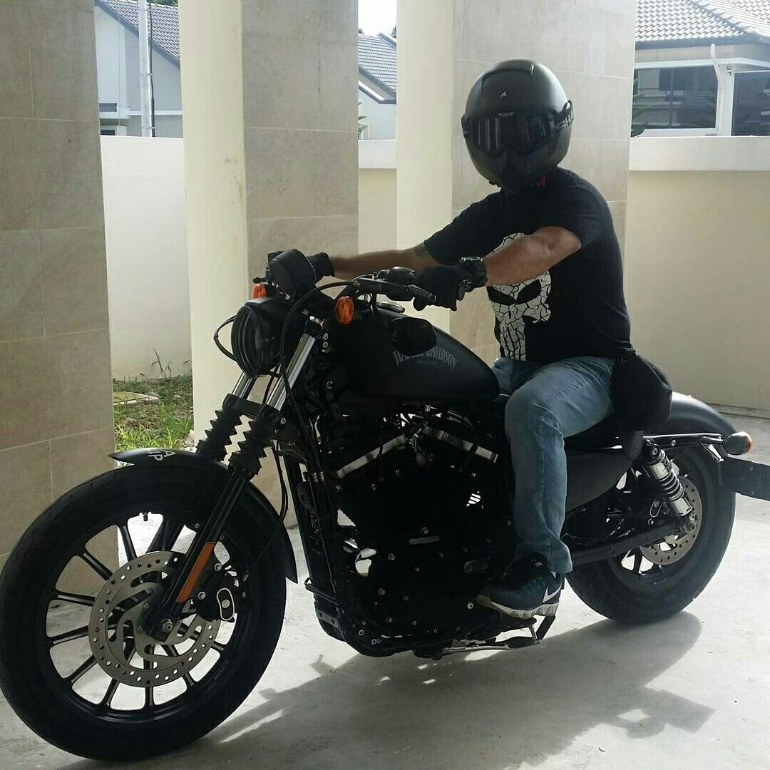 Ready to ride on my harley davidson sportster iron 883 and shark helmet