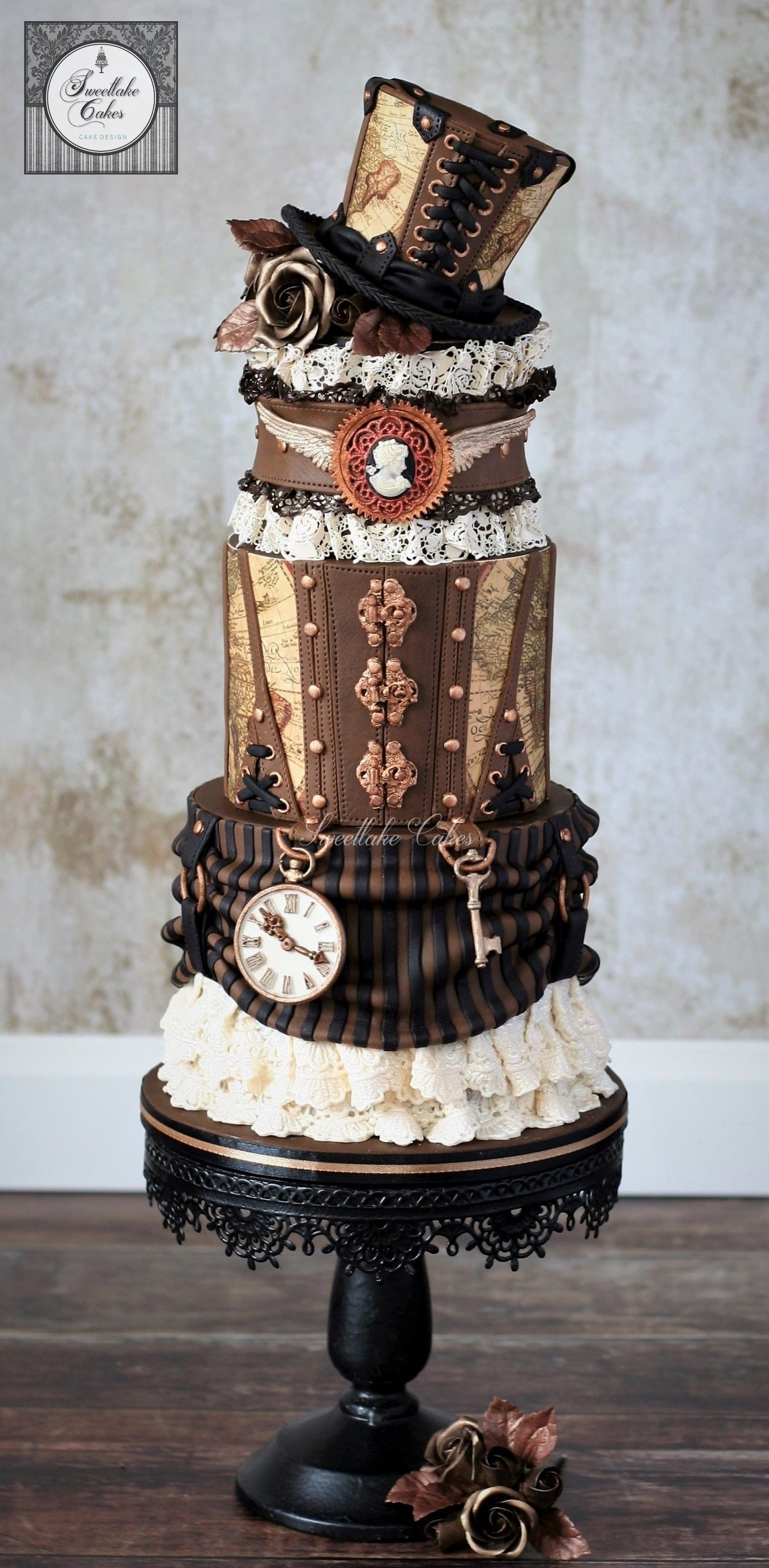 Steampunk Cake With Top Hat Cake Decorating Steampunk