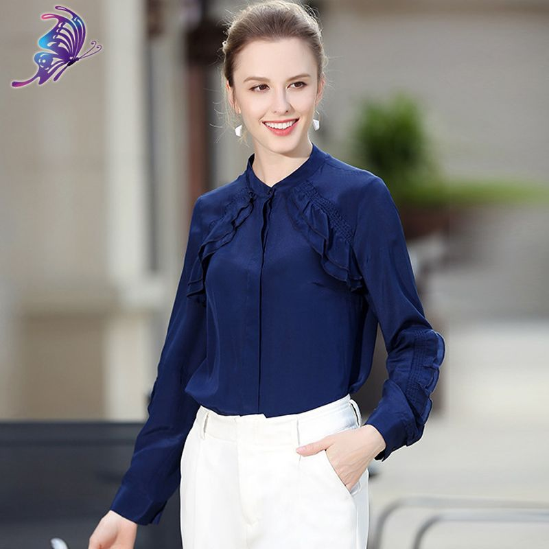 2017 Newest High Quality 100% Silk Women's Shirts Brand Designer Spring  Solid Stand Full Puff