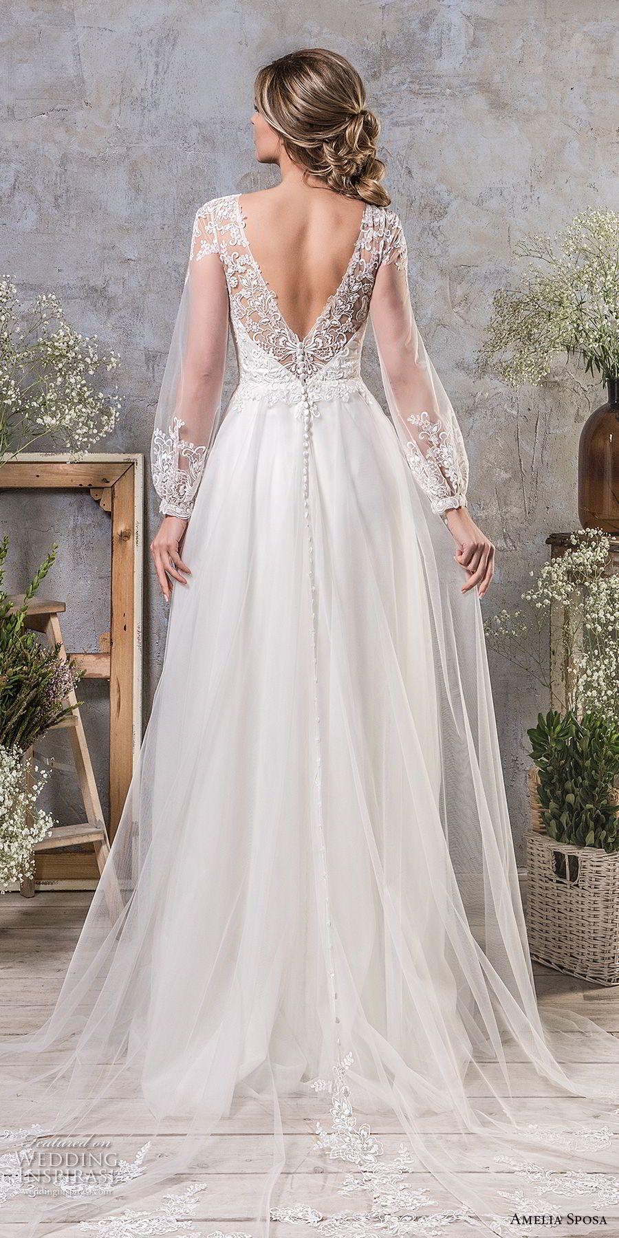 Amelia sposa fall bridal long bishop sleeves illusion jewel
