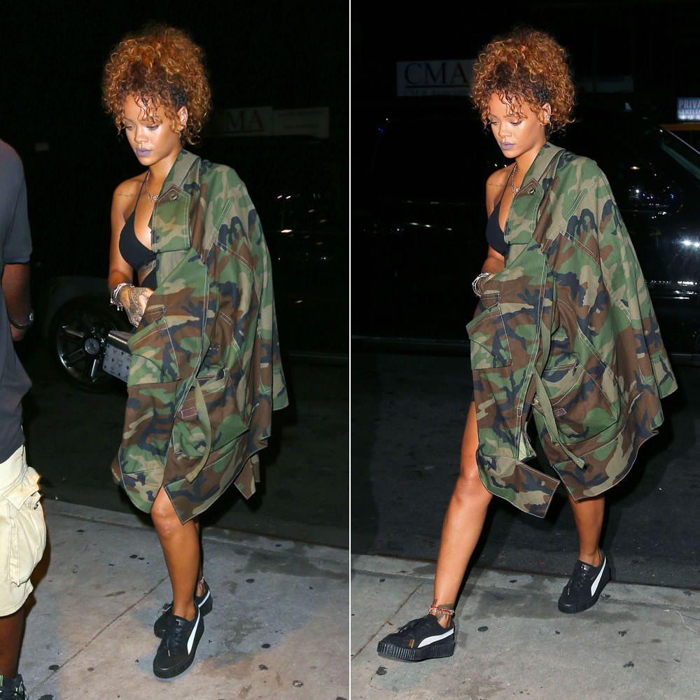 ba5370c06d30 Rihanna wearing Matthew Dolan Fall 2015 oversized camo jacket