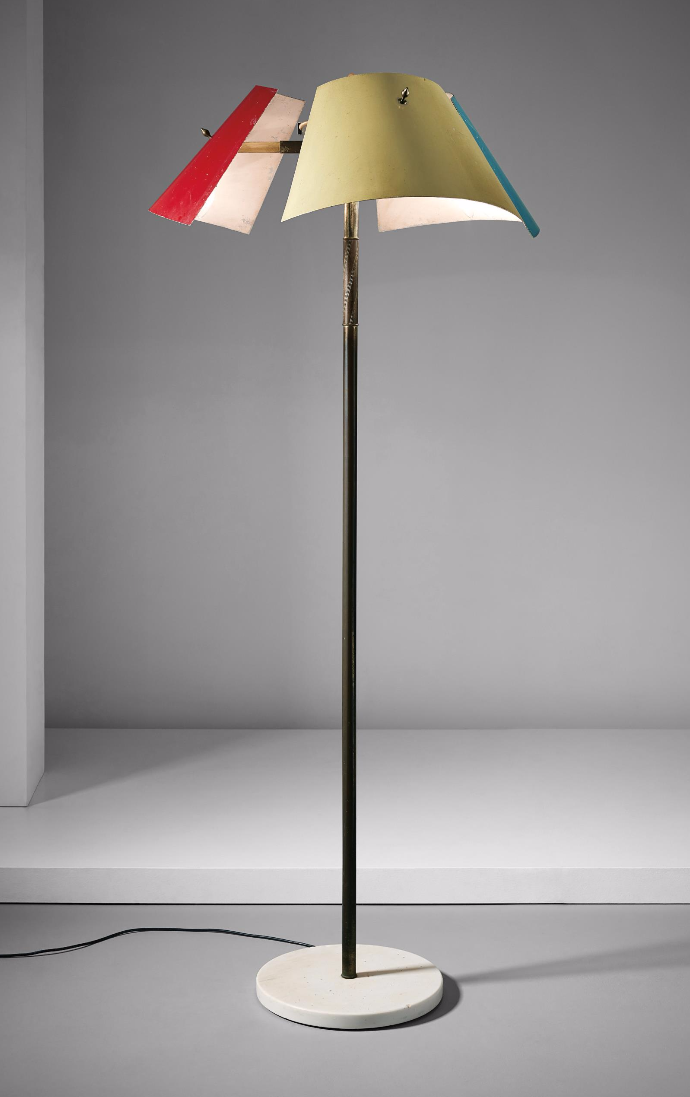 Anonymous; Enameled Aluminum, Brass and Marble Floor Lamp by Arredoluce, 1950s.