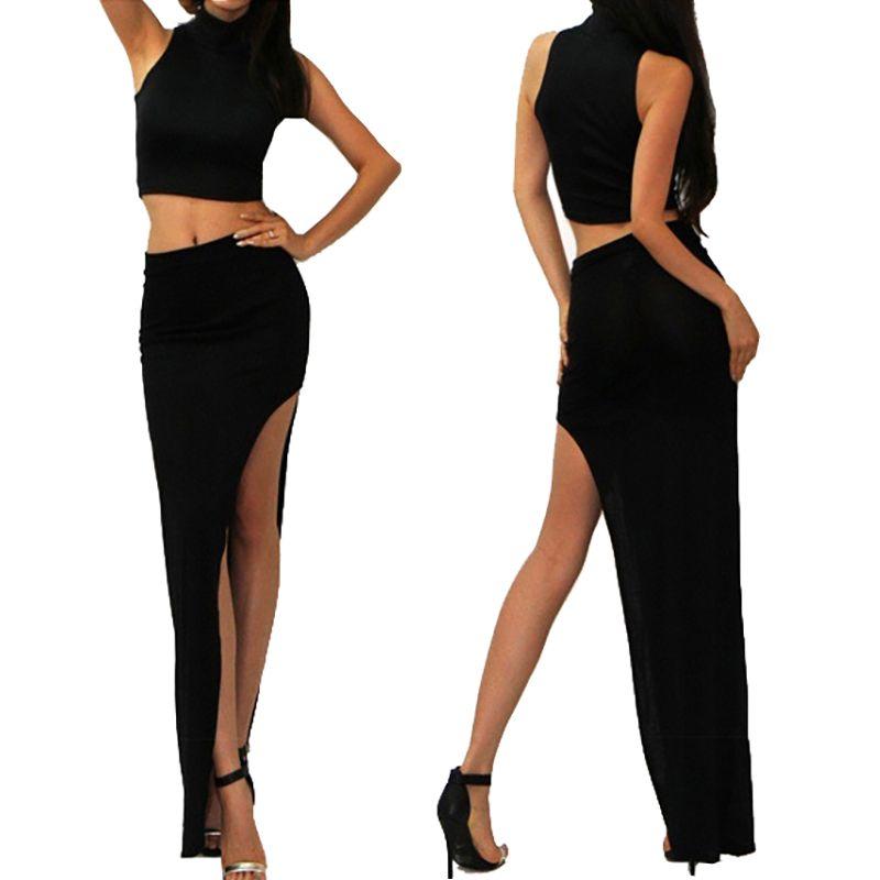 Maxi Dluga Spodnica Asymetryczna Z Rozcieciem Lato Backless Dress Formal Formal Dresses Skirt Set