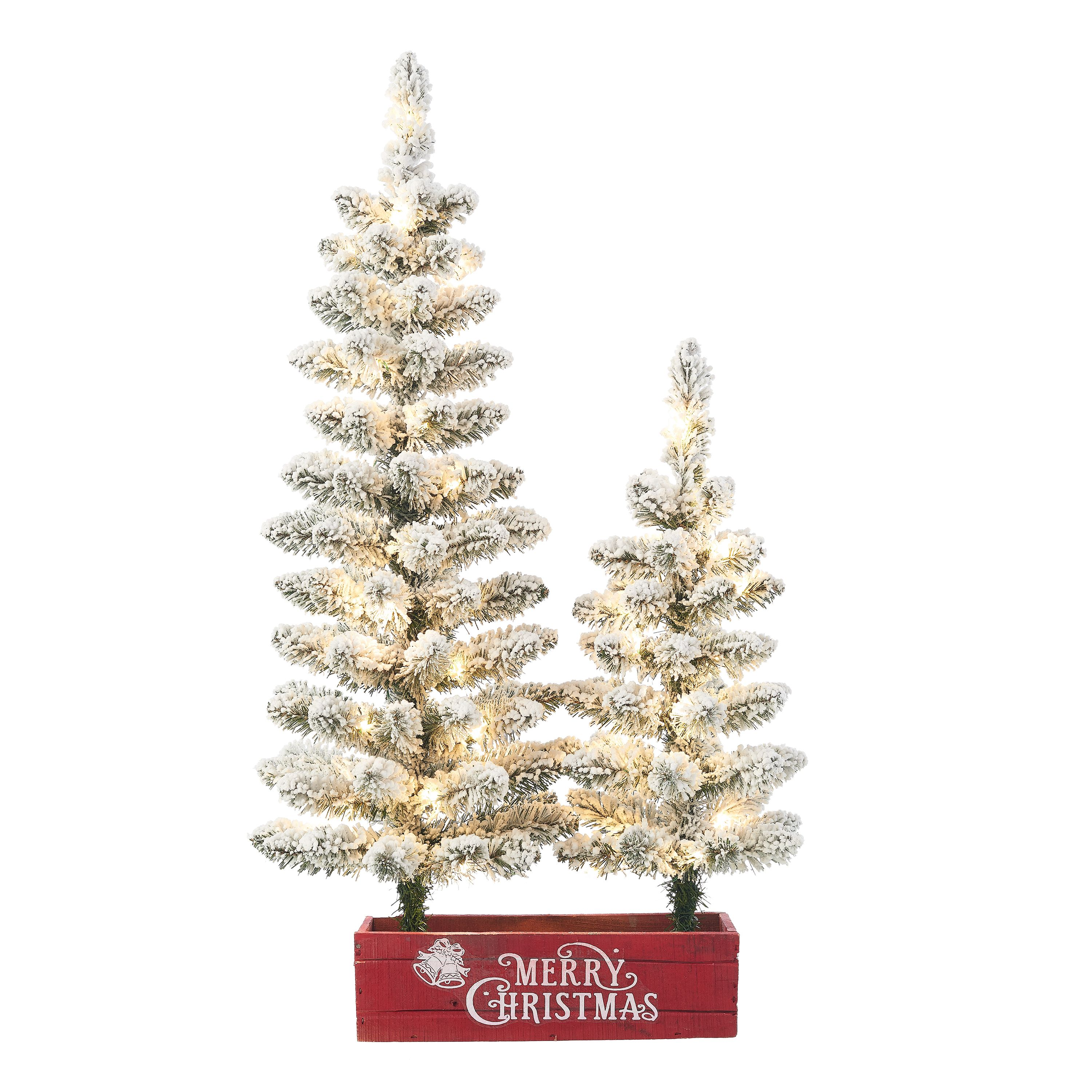 Holiday Time Pre Lit Flocked Farmhouse Potted Christmas Tree Set Warm White Micro Led Lights Green 2 3 Walmart Com In 2020 Potted Christmas Trees Christmas Tree Set Flocked Christmas Trees