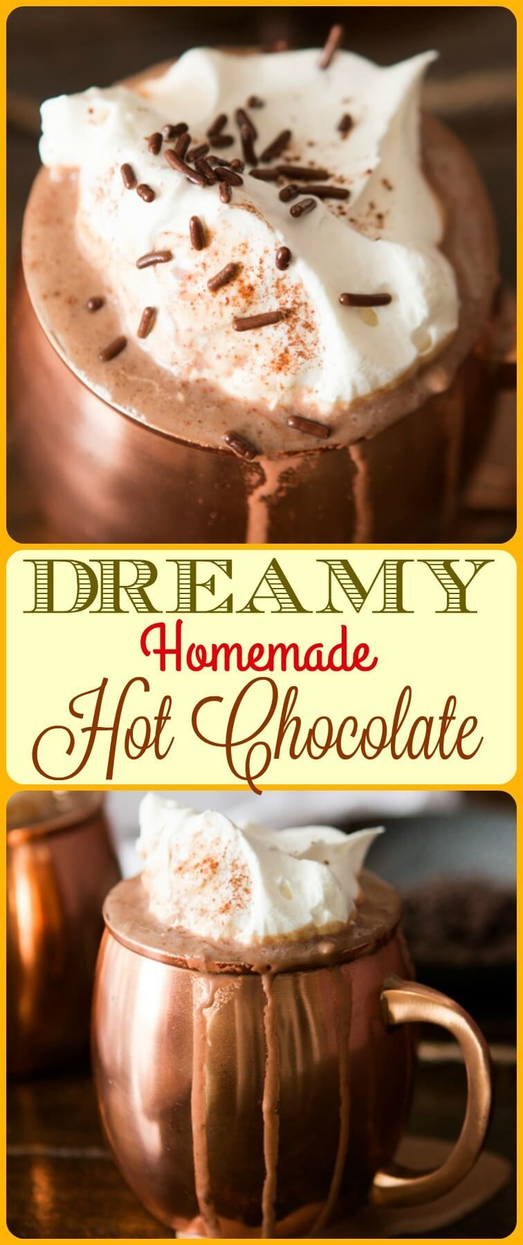 Dreamy Homemade Hot Chocolate #hotchocolaterecipe