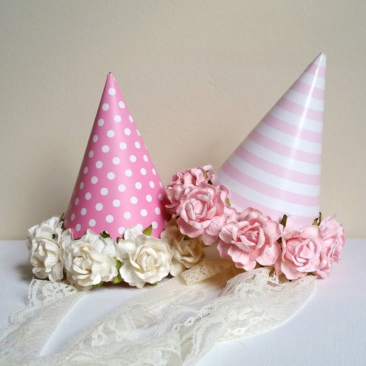 Flower Party Hat * Easy DIY. Party Hats + Fake Flowers