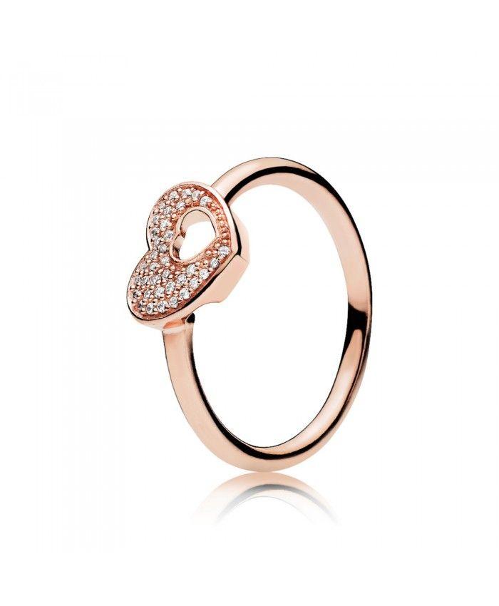 Pandora Shimmering Puzzle Heart Frame Ring 186550cz | Pandora rose ...