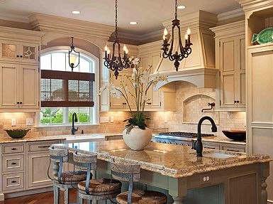 French Country Kitchen I Like The Island Color And Countertops
