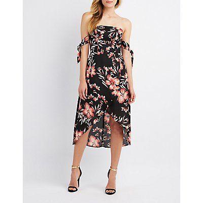 3f2acca3cf Multi Floral Off-The-Shoulder Asymmetrical Midi Dress - Size XS