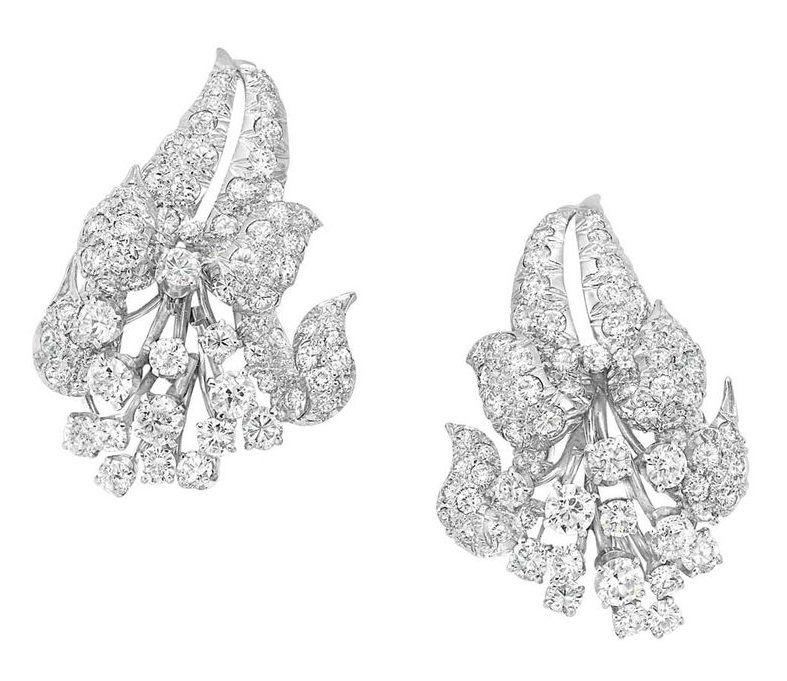Pair of Diamond Flower Earclips, David Webb. Photo: Courtesy Doyle New York